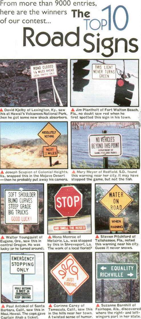 Top 10 road signs